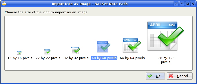 Import an Icon: Choose Size